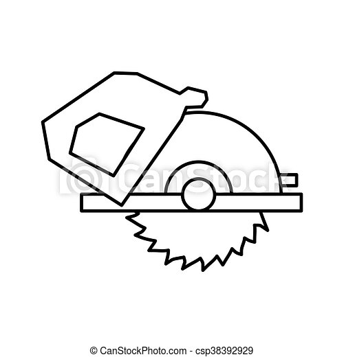 Electric Saw Tool Icon Construction And Repair Design Vector G