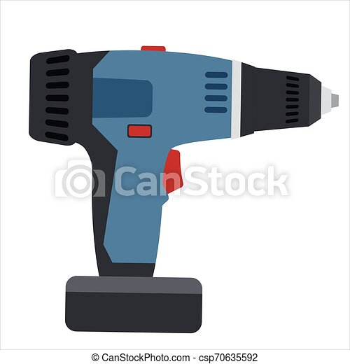 Electric screwdriver, tool, illustration, vector isolated, cartoon style - csp70635592