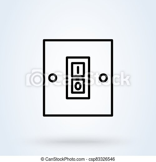 Electric switch. line and linear icon. switch single icon in cartoon style vector symbol stock illustration web. - csp83326546