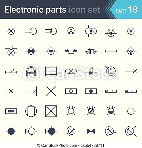 Electric symbols set of lighting. Complete vector set of electric ...
