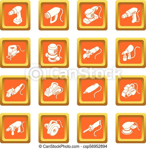 Electric tools icons set orange square vector - csp56952894