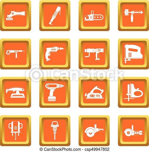 Electric tools icons set orange - csp49947802