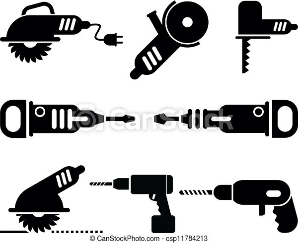 Electric Tools vector icon set - csp11784213