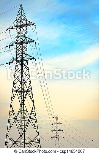 Electric tower against blue sky - csp14654207