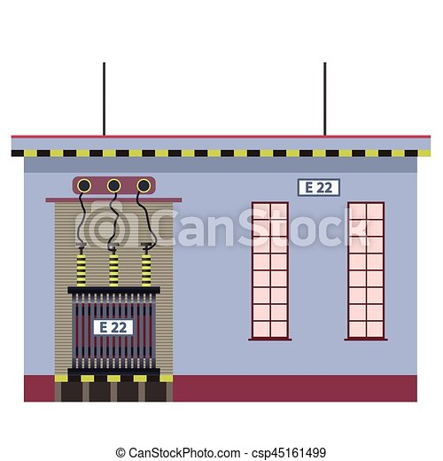 Electric transformer 2D building info graphic  High-voltage power station