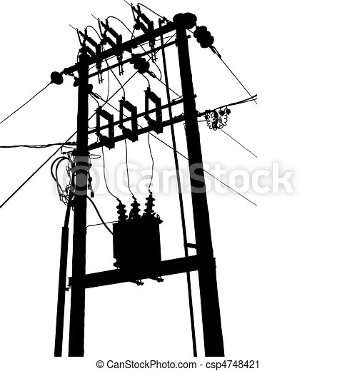 Vector silhouette of small electric transformer substation vector