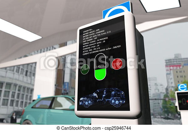 Electric Vehicle Charging Station 3D Illustration - csp25946744