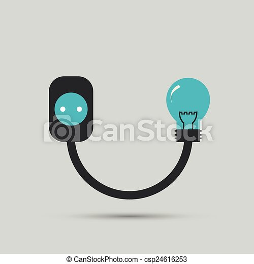 Electric Wire Light Bulb And Plug Vector Design