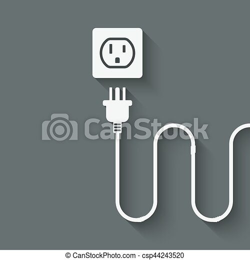 Electric wire with plug near outlet. vector illustration - eps 10.