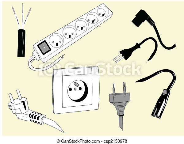 Electric wires and plugs. Elements used to plug electric devices. .