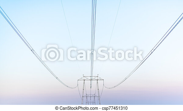 Electric wires post outdoor electic network urban corporation concept modernisation space for text mist smog outdoors - csp77451310