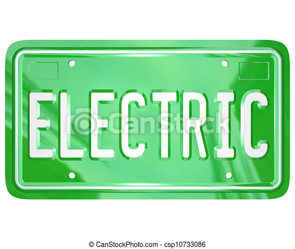 Electric Word Car Vanity License Plate Green Automobile - csp10733086