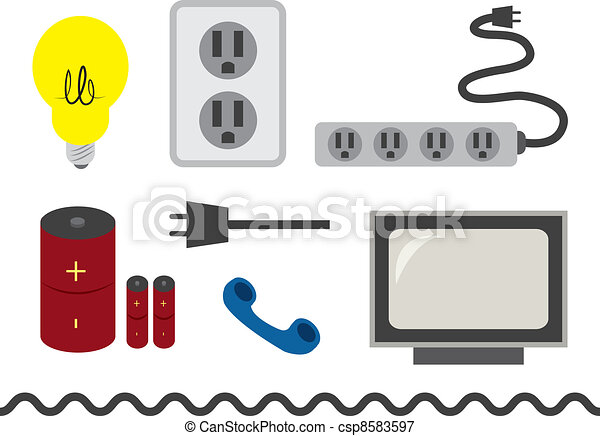 Electrical Accessories Various Electronic Objects And Vectors