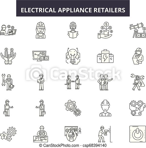 Electrical appliance retailers line icons, signs set, vector. Electrical on basic electronic symbols, kitchen symbols, lighting symbols, residential electric symbols, residential drafting symbols, circuit symbols, heating and cooling symbols, carpentry symbols, electronic component symbols, household appliances, printable wiring diagram symbols, industrial wiring symbols, voice and data symbols, clothing symbols, tools symbols, bathroom symbols, residential wiring symbols, automotive symbols, wallpaper symbols, electronic schematic symbols,