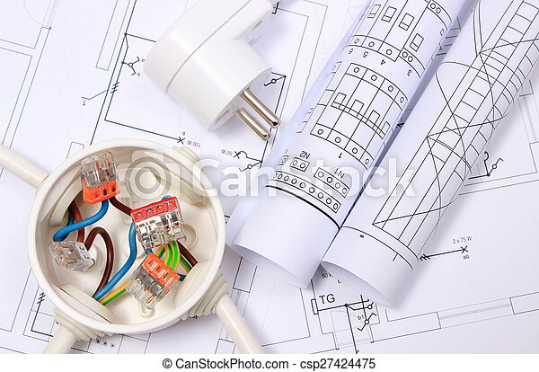 Electrical box, electric plug and diagrams on drawing - csp27424475