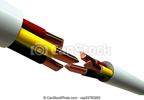 Electrical cable cut. Two opposing regular three core insulated ...