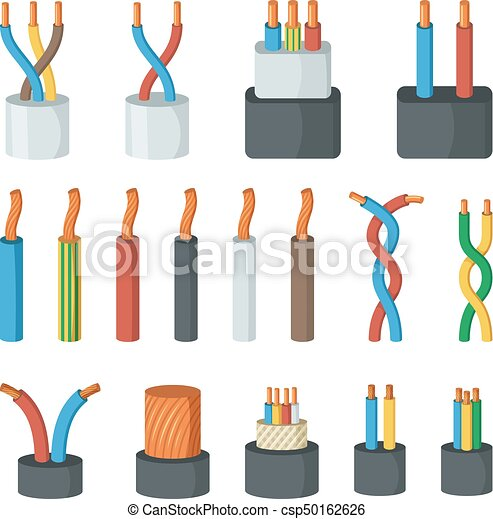 Electrical cable wires, different amperage and colors.... vector ...