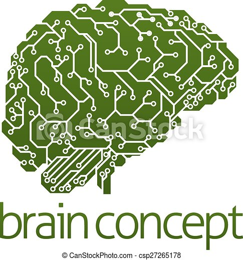 Electrical Circuit Board Brain Vector