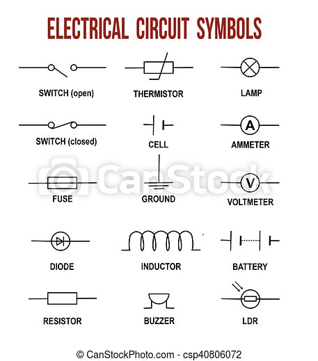 Electrical circuit symbols on white background (helpful for ...
