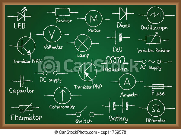Electrical circuit symbols on chalkboard - csp11759578