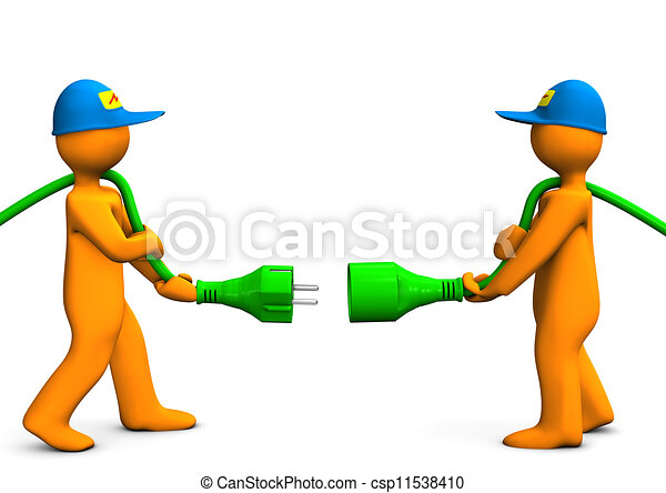 Electrical Connection Two Orange Cartoon Characters With