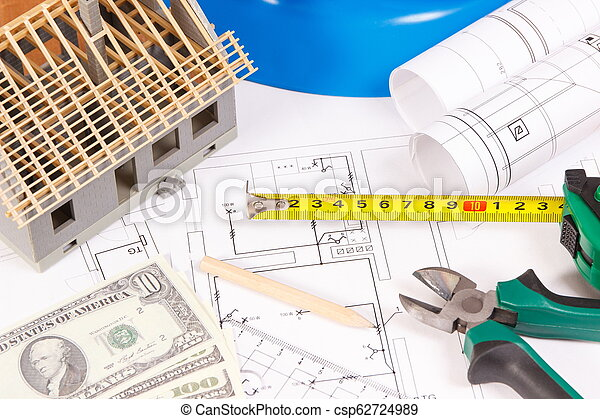 Electrical construction drawings, work tools and accessories, small house and currencies dollar, building home cost concept - csp62724989