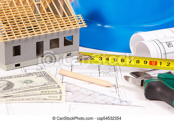 Electrical construction drawings, work tools and accessories, small house and currencies dollar, building home cost concept - csp54532354