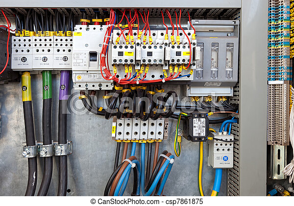 Electrical control panel. Electrical panel at a assembly line ...