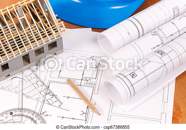 Electrical diagrams, accessories for engineer jobs and house under construction, building home concept - csp67386855