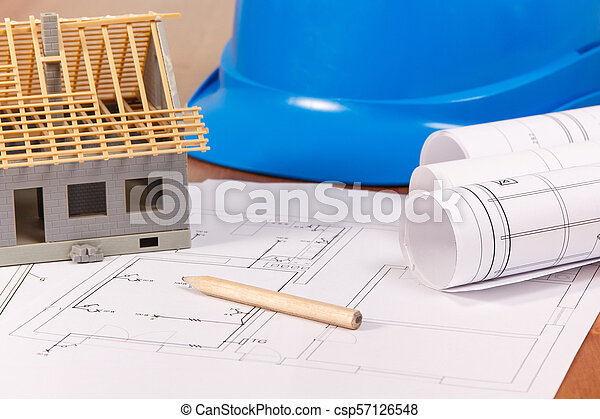 Electrical diagrams, accessories for engineer jobs and house under construction, building home concept - csp57126548