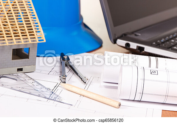 Electrical diagrams, accessories for engineer jobs and house under construction, building home concept - csp65856120