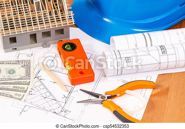Electrical diagrams, work tools and accessories, house under construction and currencies dollar, building home cost concept - csp54532353