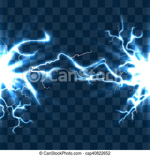 Electrical Discharge With Lightning Beam Isolated On Checkered Transparent Background Vector