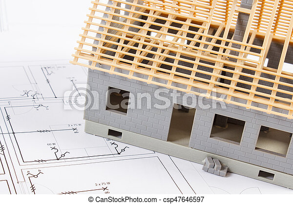 Electrical drawings and diagrams for project and house under construction, building home concept - csp47646597