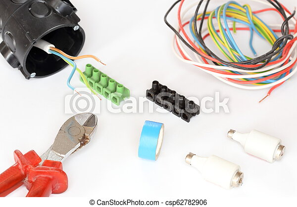 electrical equipment with wire and tools - csp62782906