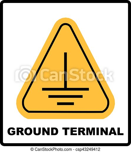 Electrical Grounding Sign Warning Symbol In Yellow Triangle