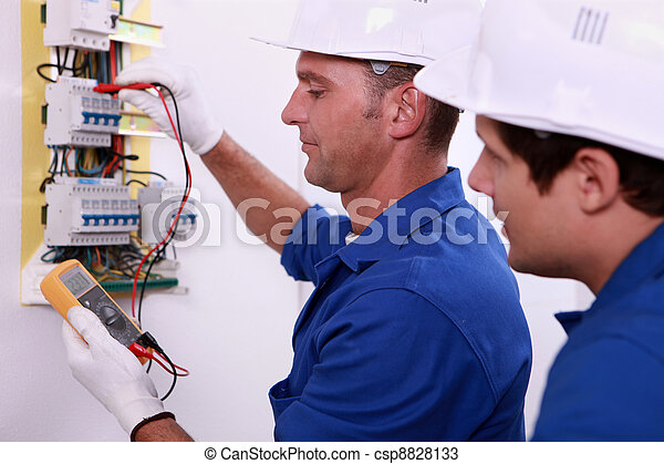 Electrical inspectors at work - csp8828133