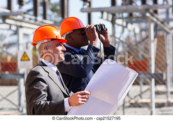 electrical managers with binoculars  - csp21527195