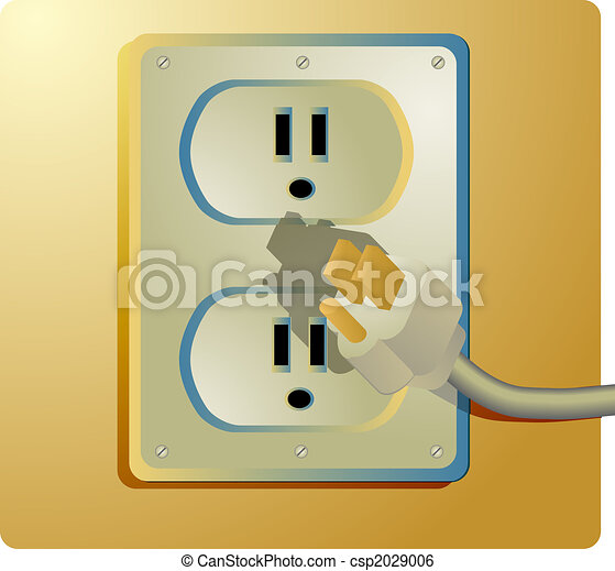 Electrical outlet and plug, wall socket us style stock illustration ...