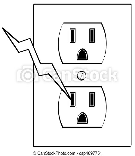 Electrical Outlet With Bolt Of Electricity Grounded Electrical Or