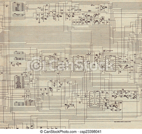 Electrical plan old paper electrical plan with old paper drawing electrical plan old paper csp23398041 malvernweather Gallery