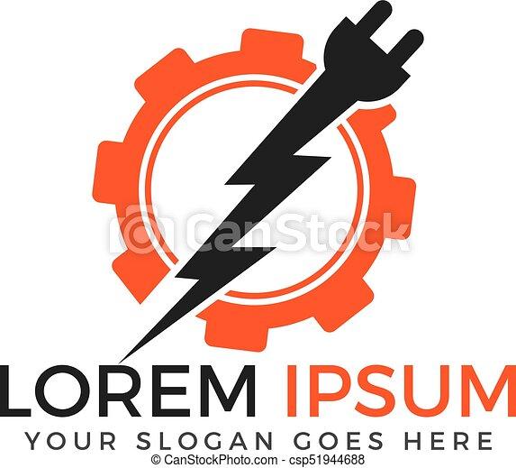 Electrical Plug And Thunderbolt Vector Logo Design Power Energy