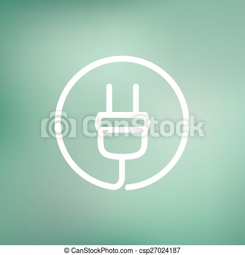 Electrical plug thin line icon - csp27024187
