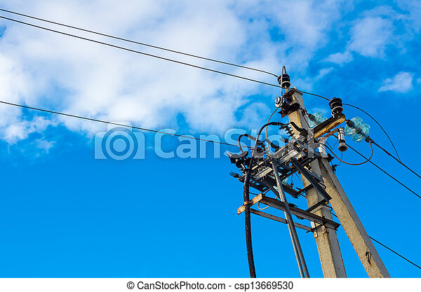 Electrical post with power line cables - csp13669530
