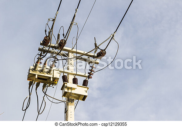 Electrical post with sky background - csp12129355