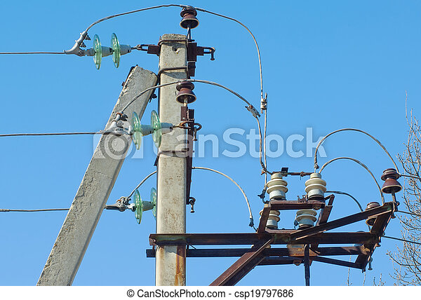 Electrical post with wires - csp19797686