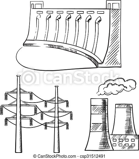 Electrical power plants and towers sketch icons - csp31512491