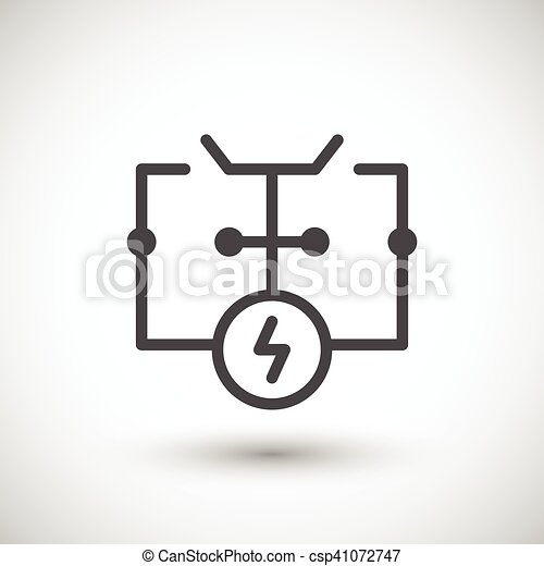 Electrical scheme line icon isolated on grey. vector illustration.