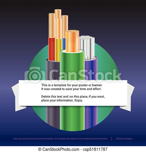 Electrical stranded cables with insulated. Copper and aluminium electrical wires in the coloured braid with example of text design. Print design for poster, presentation. 3D illustration - csp51811787