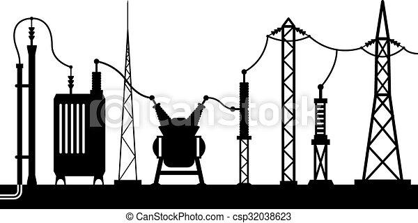 Electrical Substation Scene Vector